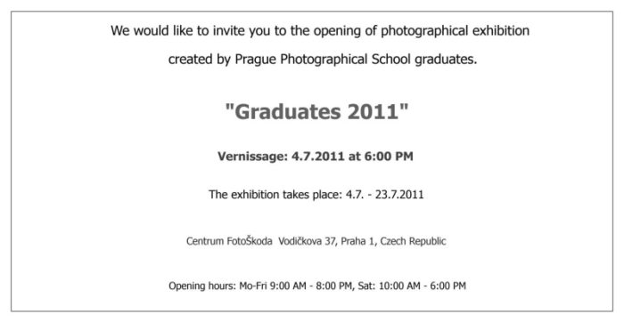 Prague Photography School - Graduates 2011